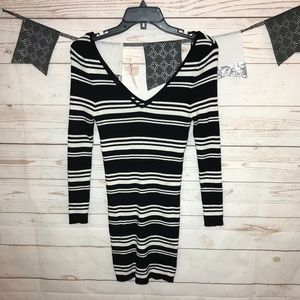 Kendall & Kylie Striped Ribbed Knit Bodycon Dress